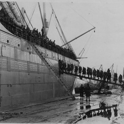 American troop ship and troops leaving for the war